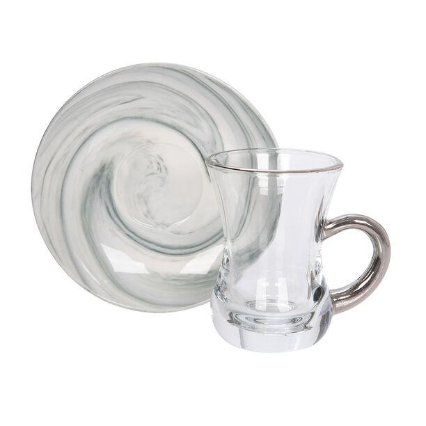 La Mesa Arabic Tea 12 Pieces Set Grey Marble And Silver image number 1
