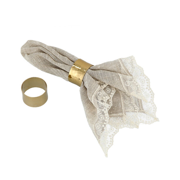 Manuscript Napkin Ring Set Of 2 Gold image number 2