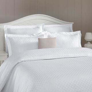 طقم غطاء لحاف قطن تصميم مربعات مقاس كينج 3 قطع لون أبيض