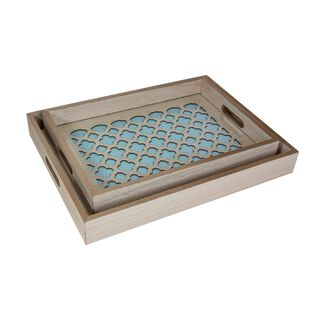 Wooden Tray Set 2 Pieces