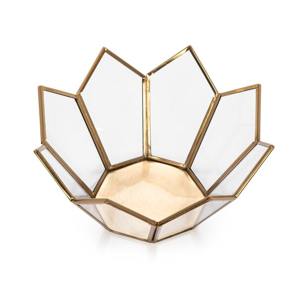 Brass And Glass Candle Holder Gold  image number 1