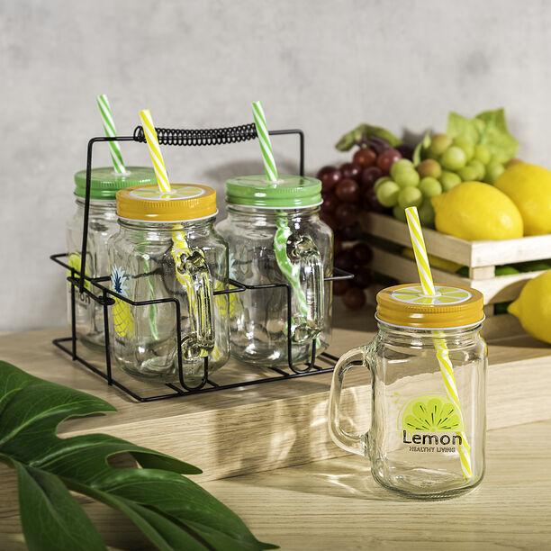 Alberto 4Pcs Glass Mug With Metal Holder V:450Ml Summer Design image number 0