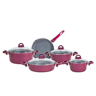 Alberto Granite Cookware Set 9 Pieces With Glass Lid Purple