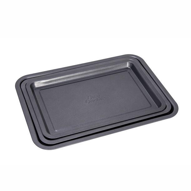 Betty Crocker Non Stick Rectangular Pan Set 3 Pieces Grey Color image number 1