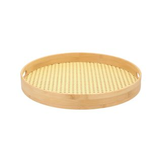 Bamboo Round Serving Tray Rattan