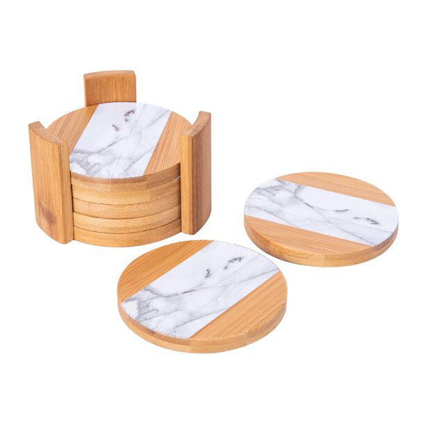 Bamboo Coasters Marble Surface Round 11.5Cm image number 1