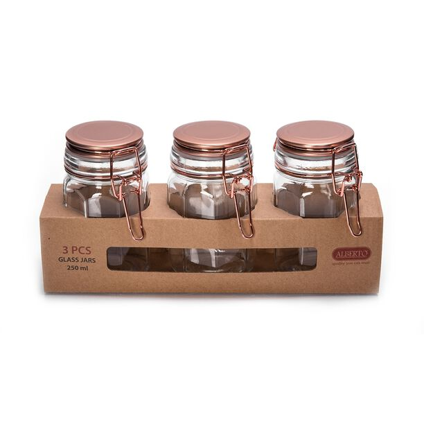 Alberto Glass Spice Jars Set 3 Pieces With Copper Clip Lid image number 1
