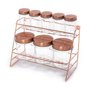 Alberto Glass Spice Jars Set 8 Pieces With Copper Lid & Stand