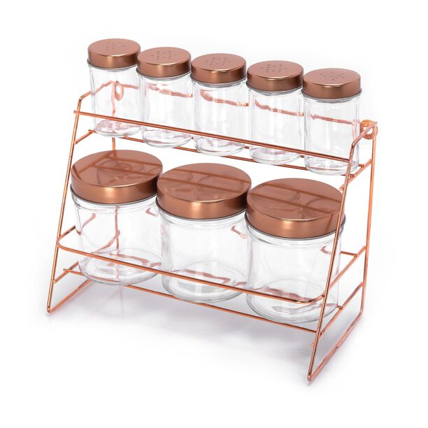 Alberto Glass Spice Jars Set 8 Pieces With Copper Lid & Stand image number 0