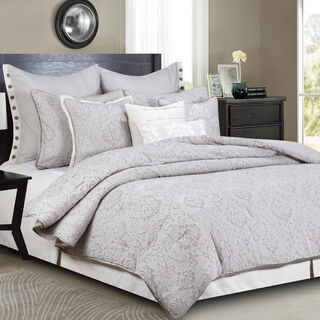 Cottage 3 Pieces Jacquard Comforter King Size Beige
