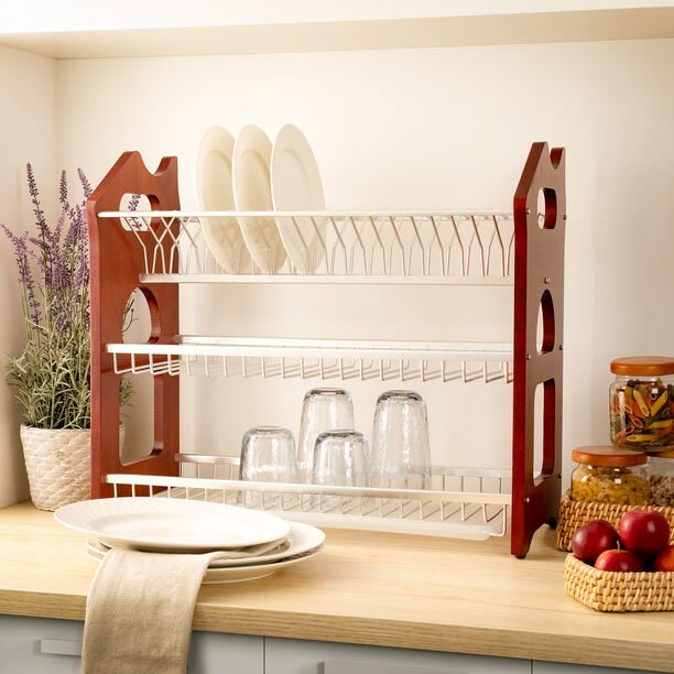 Alberto 3 Layers Rubber WoodWith Aluminium Dish Rack image number 0