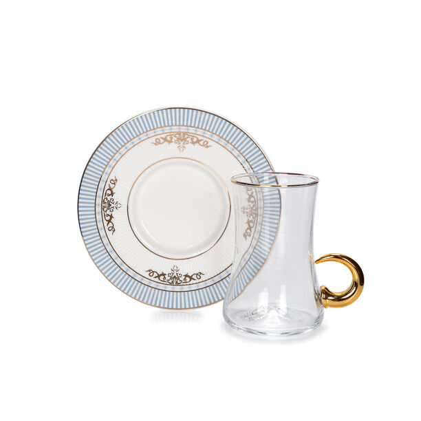 28Pc Arabic Tea And Coffee set Porcelain Royal Blue image number 2