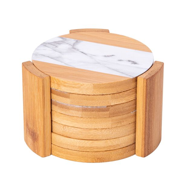 Bamboo Coasters Marble Surface Round 11.5Cm image number 0