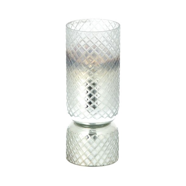 Glass Diamond Candle Holder Solid Cut Ombre And Silver  image number 0