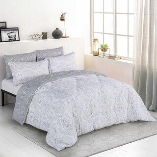 Cottage 5 Pieces Microfiber Comforter Set Emboos Emblisshed Pillow Shams King Size 250×235 Cm