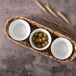 3 أطباق فرن/تقديم بورسلان مع قاعدة راتان image number 2