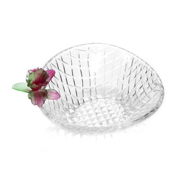La Mesa Glass Bowl With Pink Crystal Flower 26 Cm image number 1