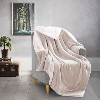 Cottage Flannel Sherpa Throw Soil