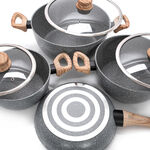 Alberto 7 Pieces Non Stick Forged Aluminum Cookware Set With Glass Lid Grey Color image number 2