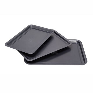 Betty Crocker Non Stick Rectangular Pan Set 3 Pieces Grey Color