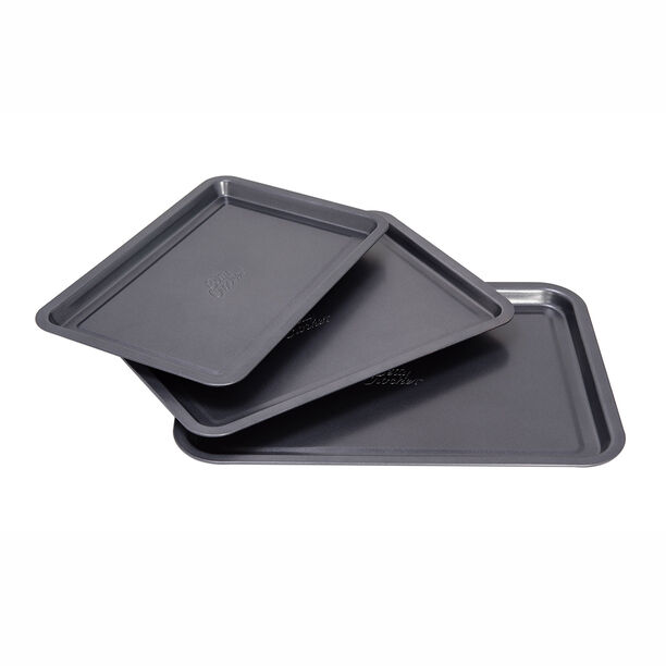 Betty Crocker Non Stick Rectangular Pan Set 3 Pieces Grey Color image number 0