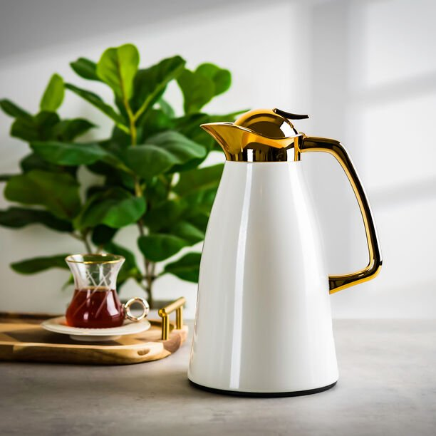 Steel Vacuum Flask Falco Gold And White 1L image number 0