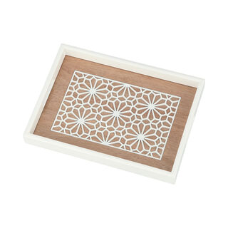 Wood Tray Pp 1Pc White Wood