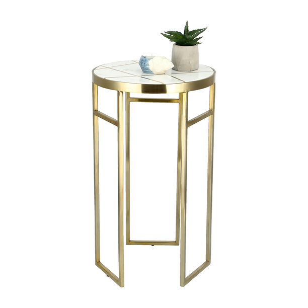 Side Table Round Marble And Metal White image number 1
