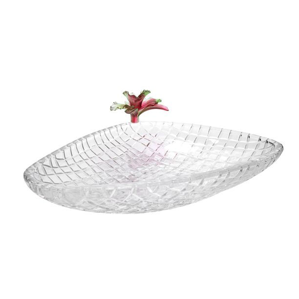 La Mesa Glass Plate With Pink Crystal Flower 37 Cm image number 0