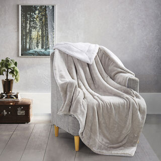 Cottage Flannel Sherpa Throw Stone