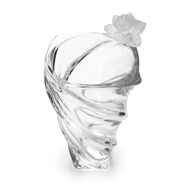 Decorative Vase Glass With Crystal Flower Clear image number 1