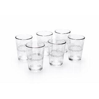 Moroccan Tea Glass 6 Pieces Silver H8.2Xt5.8X4.3