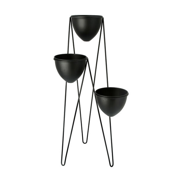 Planter Set Of 3 With Stand Metal Black image number 0