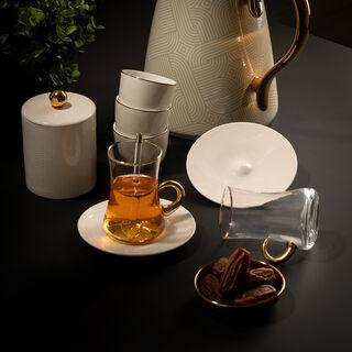 Arabic Tea and Coffee Set 28Pc Porcelain Harmony Emboss Serv 6