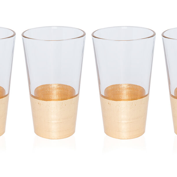 4 Pcs Glass Tumblers With Grid Cutting Gol image number 0
