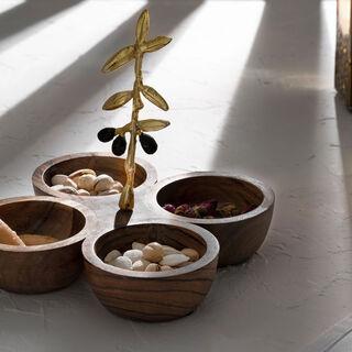 وعاء تقديم 4 اقسام خشبي تصميم الزيتون