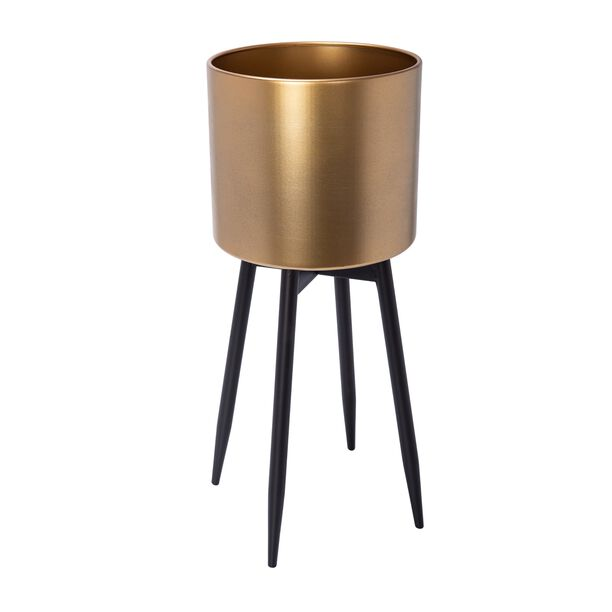 Planter With Stand Metal Gold image number 0