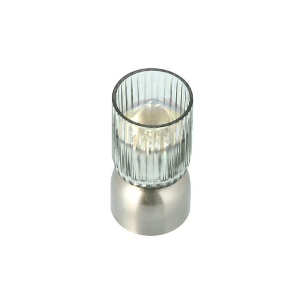 Glass Ribbed Candle Holder Solid Ombre And Silver  image number 2