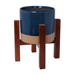 """Ceramic Planter With Stand 9.5"""""""