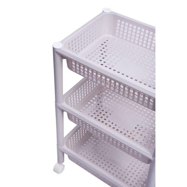 سلة مطبخ بلاستيك ثلاث طبقات بعجلات لون رمادي image number 2