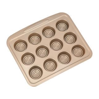 Alberto Non Stick 12 Cup  Muffin Pan, Gold Color