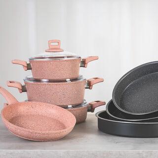 Alberto Round Forged Aluminum Roaster Set 3 Pieces Dark Grey