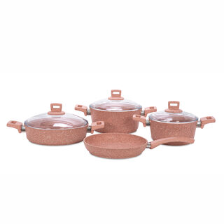 Alberto Granite Cookware Set 7 Pieces Pinkstone