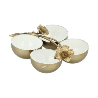 Chip & Dip 4 Bowl White&Satin Gold