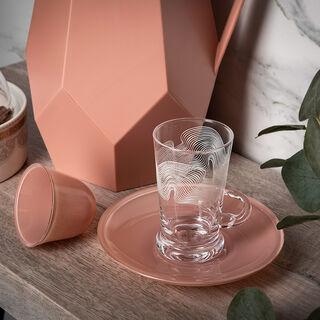 18Pc Arabic Tea And Coffee Set Glass Colorback Peach