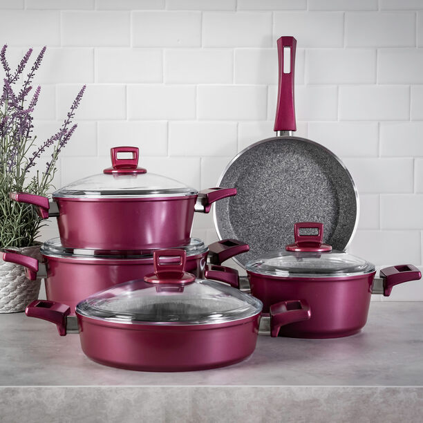 Alberto Granite Cookware Set 9 Pieces With Glass Lid Purple image number 0