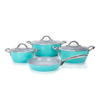 7Pcs Forged Cookware Set With Ceramic Coating Inside Blue