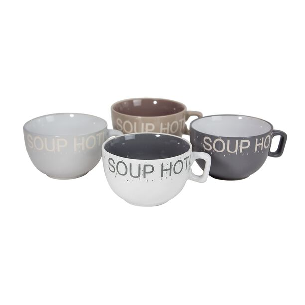 La Mesa Soup Mugs Set 4 Pieces Mix Colors 575 Ml image number 0