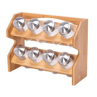 Spice Jars 8 Pieces With Bamboo Rack