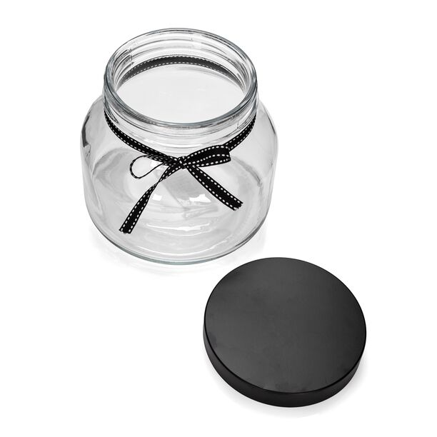 Alberto Glass Storage Jar With Metal Lid And Ribbon V:1400Ml image number 1